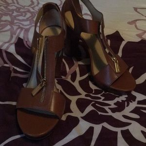 Women's Michael Kors Berkeley Leather Sandal heels